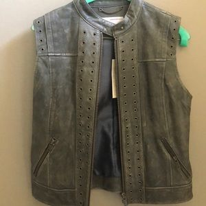 Banana republic vest, leather, small NWT